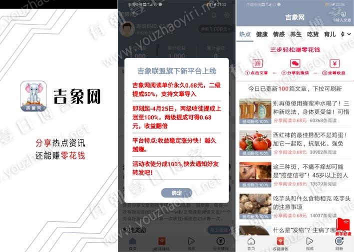 达中科技旗下推出新平台吉象网App文章转发赚钱,永久0.68元阅读价格-有朝壹日